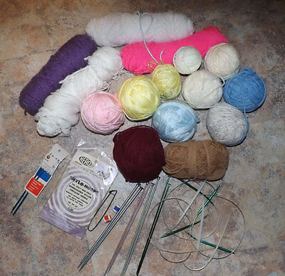 Mixed Lot of Knitting Supplies - Yarn -Circular Needles -Knitting Needles-LL 255