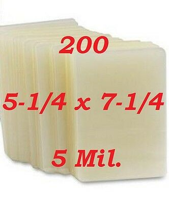 5 x 7 Laminating Laminator Pouches Sheets 5.25 x 7.25 (200- Pack) 5 Mil
