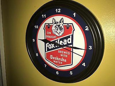 Fox Head Waukesha Wisconsin Beer Bar Tavern Wall Clock Man Cave Sign