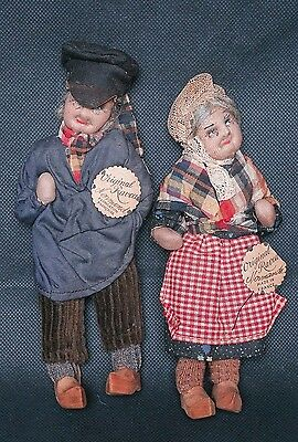 "Early Pair of Original French Ravca Peasant Dolls Tagged 5"" / 6"""