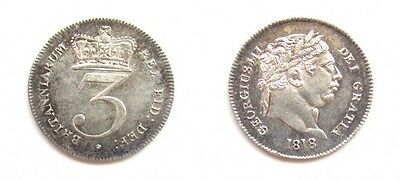 George Iii 1818 Silver Maundy Threepence