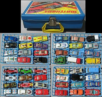 48 vintage YATMING ( Yat Ming ) 1:64 diecast cars with 1971 Matchbox carry case.