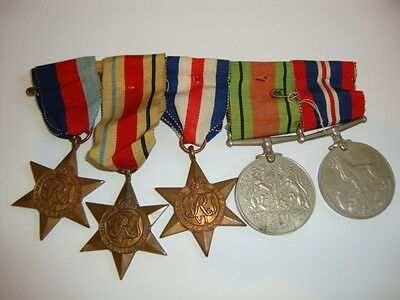 WW2 5 Medal Group Defence/War/France And Germany/Africa/1939-45 Stars