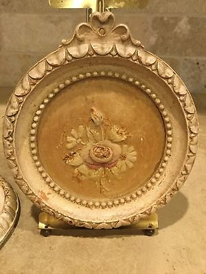 Pair Antique French Gold Silk Hand Embroidered Flowers in Ornate Wood Frame