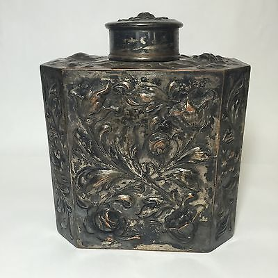 Victorian Antique Silverplate Tea Caddy Repousse Copper