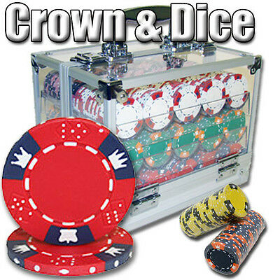New 600 Crown & Dice 14g Clay Poker Chips Set with Acrylic Case - Pick Chips!