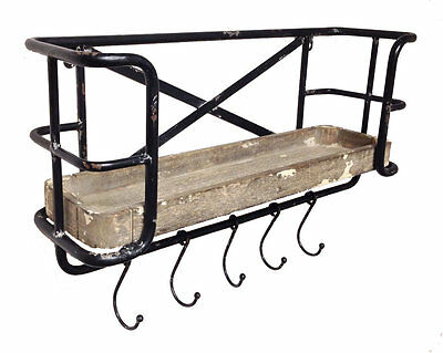 Store It Metal Wall Shelf with Wood Tray and Moveable Hooks Wilco Home (NEW)