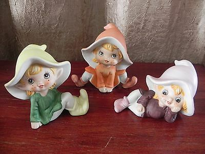 Homeco Cute Porcelain Pixie Elf Figurines Set of 3 Lot