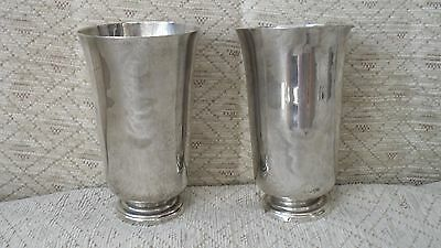 Pair of silver posy vases