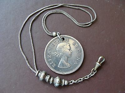 Fine Old South Afrika Africa 1960 Coin Fob Sterling Silver Pocket Watch Chain