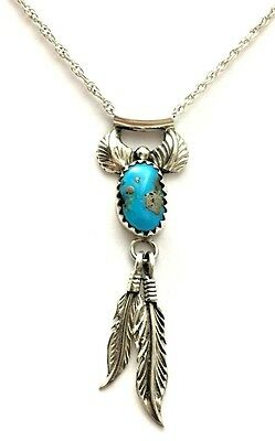 Native American Sterling Silver Turquoise Feather Necklace