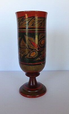 Vintage  Russian Wood Khokhloma Lacquer- Hand Painted with Gold and Rust Design