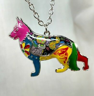 Bonsny German Shepherd Dog GSD Jewelry Dog Pup Pendant Necklace Multicolor