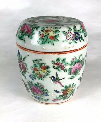 Famille Rose Ginger Jar Urn Lidded Pot with Bird and Butterfly Signed China