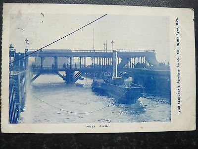 Antique Postcard 1904 - Hull Pier + Advert For Slingsby's Furniture Arcade
