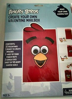 Angry Birds RED BIRD Valentine cards mailbox package NEW
