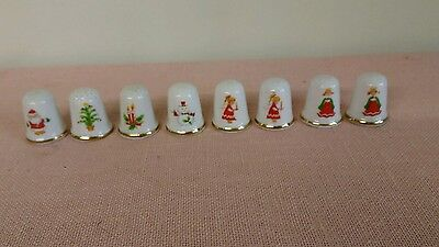 Vintage Lot of 8 Enesco Christmas Porcelain Thimbles