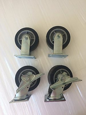 "COLSON CASTERS - Set of 4 2""x 6"" Casters (2 fixed plate & 2 swivel plate)"
