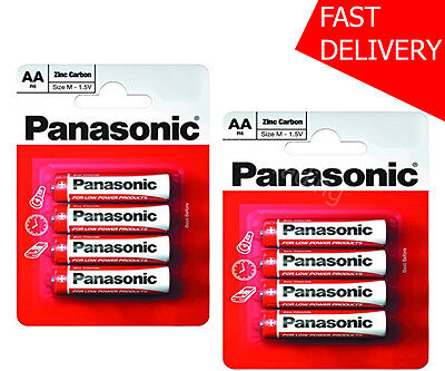 8x AA Panasonic Heavy Duty Genuine Zinc Carbon 1.5V R6 Batteries - NEW