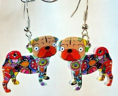 Pug Jewelry Pug Dog Pup Earrings Floral Multicolor Acrylic