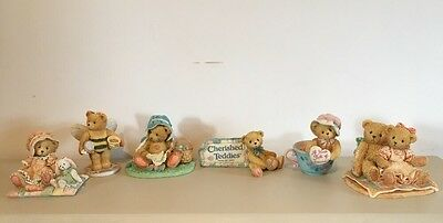 Cherished Teddies Collection x 6 Including Rare Store Plaque Sign