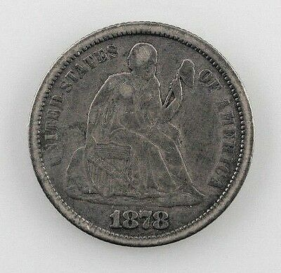 1878 Silver Seated Liberty Dime 10C (Fine, F Condition)