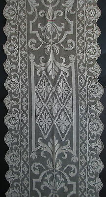FINE ANTIQUE LACE TABLE RUNNER 14x54 Italian Filet Dresser Scarf Floral Scrolls