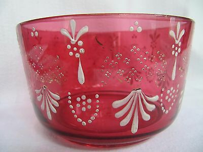 Victorian Cranberry Glass Dish with White Enamelling