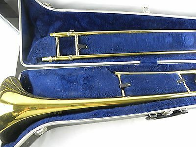 Vtg King Cleveland 606 Trombone USA & Case With Holton 12C Mouthpiece pre-1980