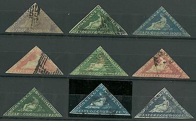 Cape of Good Hope 1853 to 1856 Scott #4, 5, 6, 6a, 12, 13, 15, Used. #15 Thin.