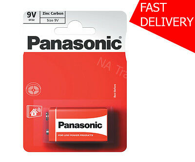 1x Panasonic Heavy Duty Genuine Zinc Carbon 6F22 Block Battery 9V - NEW