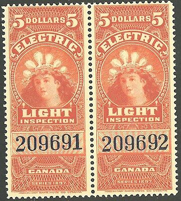 Canada $5 Dollar Electric Light Inspection Series 1897 MNH Mint Never Hinged Duo