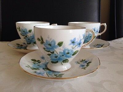 Vintage Queen Anne Blue Tea Cups And Saucer Set Of 3