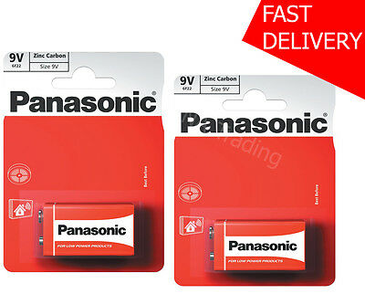 2x 9V Panasonic Heavy Duty Genuine Zinc Carbon 6F22 Block Batteries - NEW