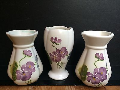 Vintage E Radford Pottery Vases in Violet Pattern x 3.  Shapes 1035 and 974