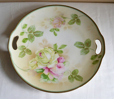1013: Antique ES Germany PROV SXE Cake Plate Hand Printed Pink Roses
