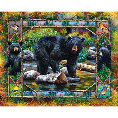 "Jigsaw Puzzle 1000 Pieces 24""X30"" Black Bear & Cubs WM1170"