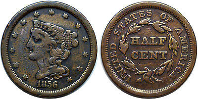 1856 Braided Hair 1/2C Half Cent Fine Details