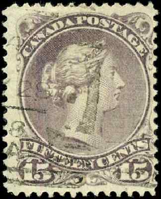 Canada #29i used F-VF 1868 Queen Victoria 15c purple Large Queen Squared Circ