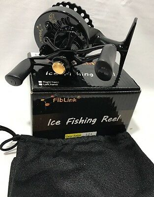 Inline Ice Fishing Reel Fiblink LEFT Handed Fishing Raft Wheel Lightweight W1