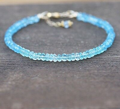Natural Swiss Blue Topaz and Green Apatite Bracelet 14K Gold Filled , December B