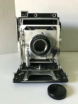 Vtg Graflex Pacemaker Speed Graphic 4X5 Camera Optar 135 Mm With Case & Equip