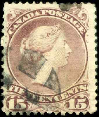 Canada #29b used F-VF 1868 Queen Victoria 15c red lilac Large Queen  Fancy Cork