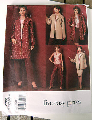 OOP Vogue five easy pieces 2706 jacket top skirt pants size 8-12 NEW