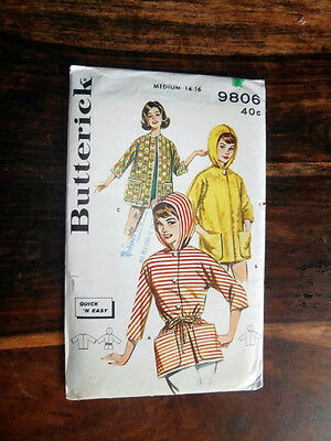 Vtg Mid Century Easy Butterick 9806 hooded jacket beach coverup size 14-16