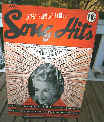 Vtg Song Hits Magazine dated April 1939