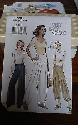 Oop Vogue 7736 misses novelty loose fitting pants low waist sizes 12-16 NEW