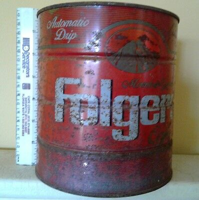 Vintage Folgers Rare coffee can big Automatic Drip