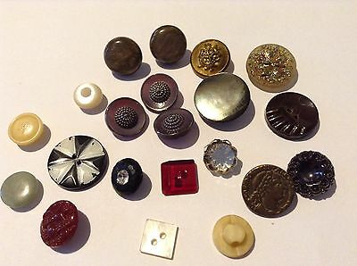 Job Lot Of Antique/Old Vintage Buttons. Mop, Glass, Metal, Paste, Cameo