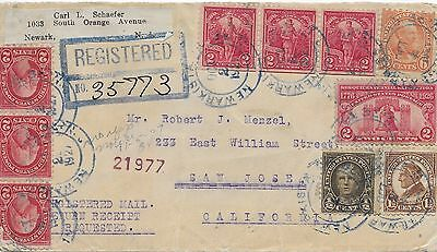 US Parcel Post Registered Mail Cover Newark to San Jose 1921 California
